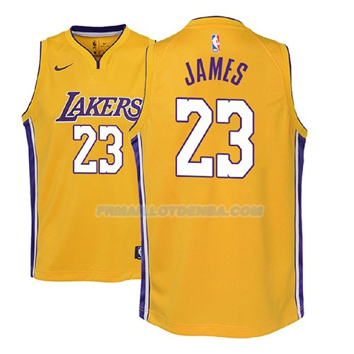 Maillot Enfant Los Angeles Lakers Lebron James Icon 2017-18 Jaune